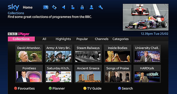BBC iPlayer (from May 2014 onwards) on Sky+ HD