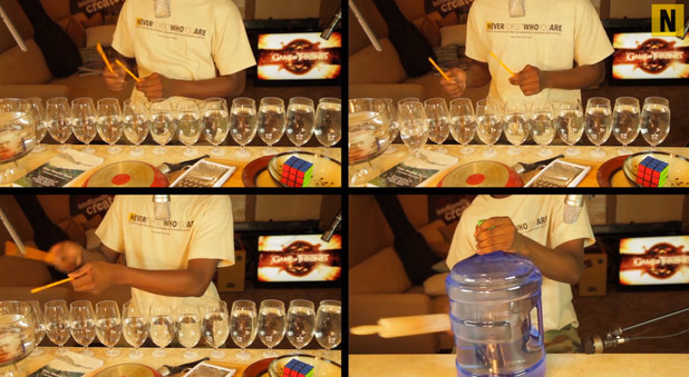 Game of Thrones theme song on wine glasses