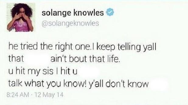 Solange fake tweet
