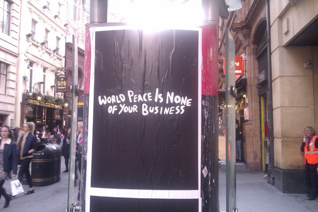 Morrissey poster - World Peace Is None of Your Business in Oxford Circus