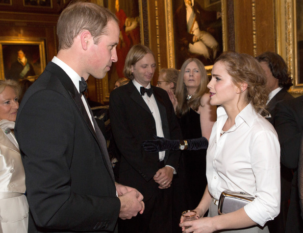 WINDSOR, ENGLAND - MAY 13: Prince William, Duke of Cambridge (L) and Emma Watson attend a dinner to celebrate the work of The Royal Marsden hosted by the Duke of Cambridge on May 13, 2014 in Windsor, England. (Photo by Doug Seeburg-Pool/Getty Images)