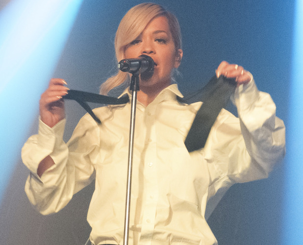 Rita Ora performs on stage at G-A-Y