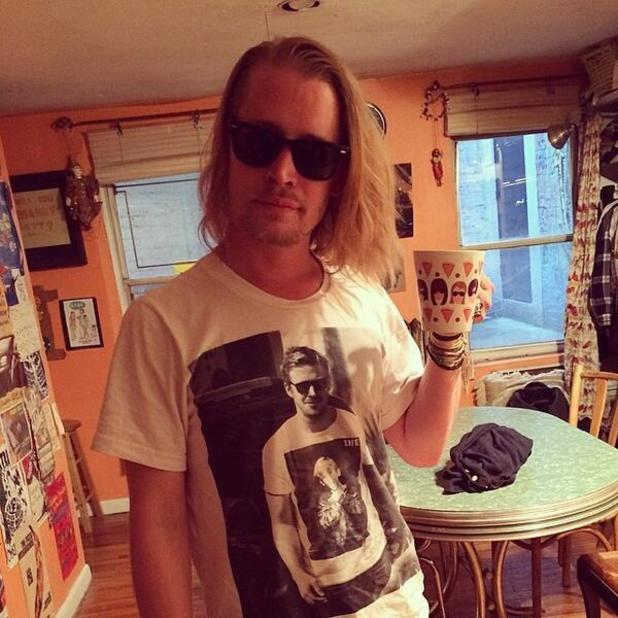 Macaulay Culkin wears Ryan Gosling Macaulay Culkin T-shirt