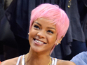 The singer wears a brightly-coloured wig to a basketball match in Los Angeles.