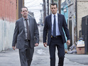Dean Winters as Det. Russ Agnew and Josh Duhamel as Special Agent Milt Chamberlain in Battle Creek
