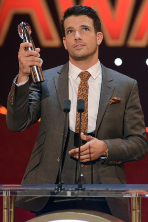 British Soap Awards Danny Mac with award for Sexiest Male