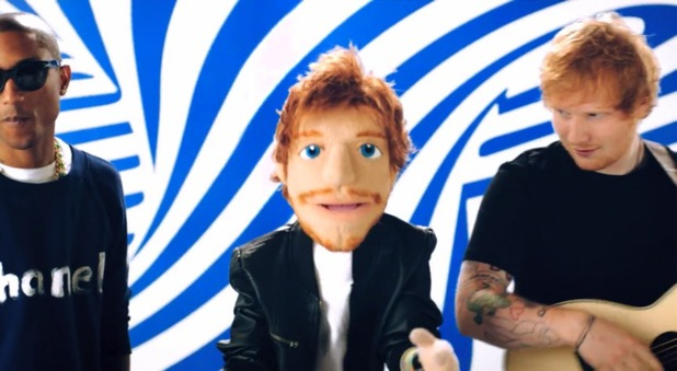 Ed Sheeran and Pharrell in 'Sing' video