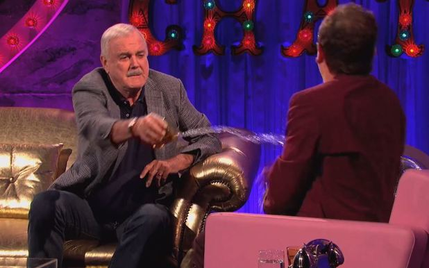 John Cleese throws a drink over Alan Carr on Chatty Man