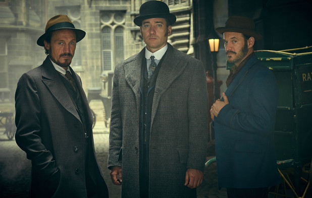 Matthew Macfadyen, Jerome Flynn and Adam Rothenberg as Detective Inspector Edmund Reid, Detective Sergeant Bennet Drake and Captain Homer Jackson in Ripper Street series 3