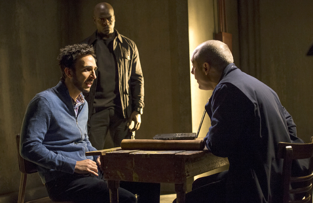 Amir Arison as Aram Mojtabai, Hisham Tawfiq as Dembe & James Spader as Raymond 'Red' Reddington in The Blacklist