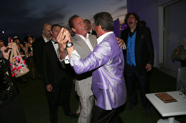 CANNES, FRANCE - MAY 18: Actor Arnold Schwarzenegger and director Sylvester Stallone attends The Expendables 3 Official Cast Dinner Party at Gotha Club on May 18, 2014 in Cannes, France. (Photo by Gisela Schober/Getty Images)