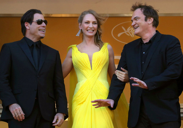 Quentin Tarantino, Uma Thurman and John Travolta attend the 'Clouds Of Sils Maria' premiere during the 67th Annual Cannes Film Festival
