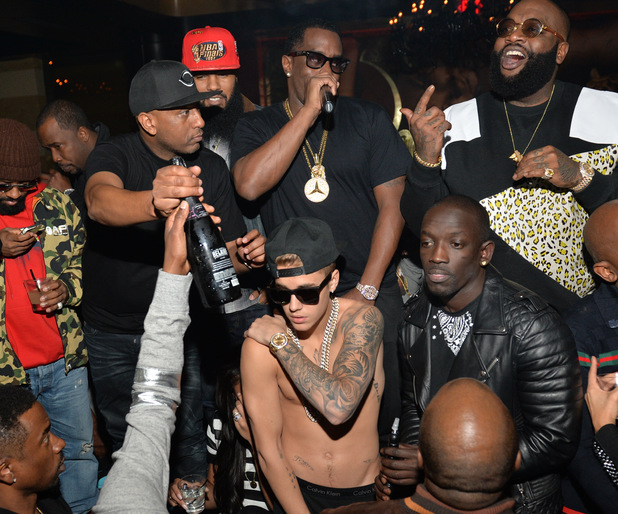 ATLANTA, GA - FEBRUARY 05: Alex Gidewon, Stalley, Sean 'Diddy' Combs, Rick Ross, Bu Thiam and Justin Bieber attend Ciroc party at Vanquish Lounge on February 5, 2014 in Atlanta, Georgia. (Photo by Prince Williams/FilmMagic)