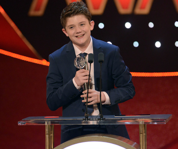 British Soap Awards Ellis Hollins with award for Best Young Performance