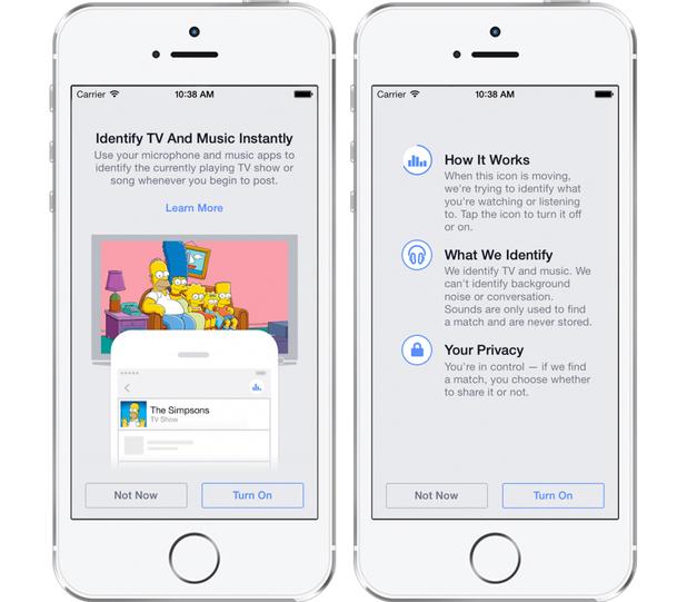Facebook audio recognition feature
