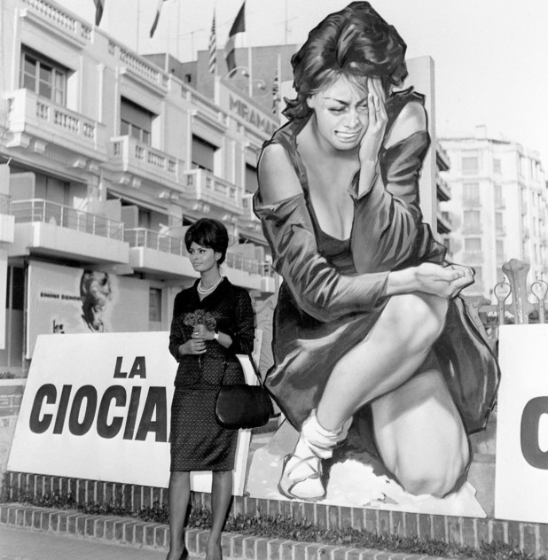 Italian film star Sophia Loren at the Cannes Film Festival with a poster for her new film 'La Ciociara', directed by Vittorio De Sica, 8th May 1961. (Photo by RDA/Getty Images)