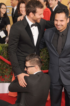 Bradley Cooper, Michael Pena and Vitalii Sediuk arrive at the 20th Annual Screen Actors Guild Awards