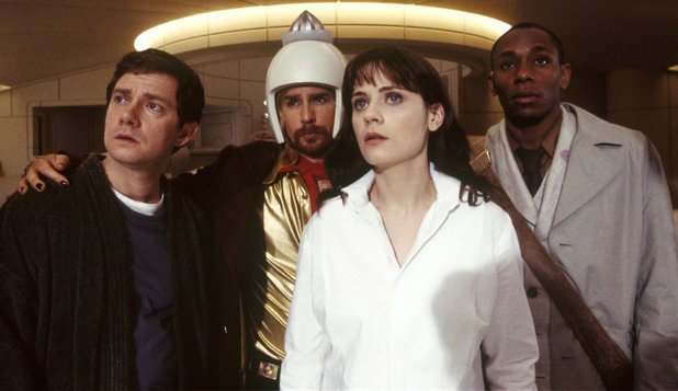 Sam Rockwell, Mos Def, Zooey Deschanel and Martin Freeman in The Hitchhiker's Guide to the Galaxy (2005)