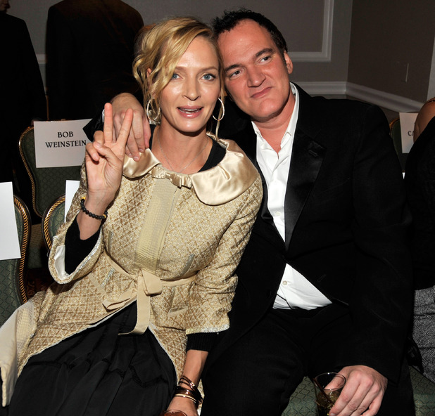 Uma Thurman and Quentin Tarantino attend the Friars Club roast of Quentin Tarantino at the New York Hilton and Towers on December 1, 2010 in New York City.