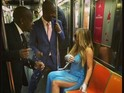Singer dons sunglasses for train ride in couture dress.