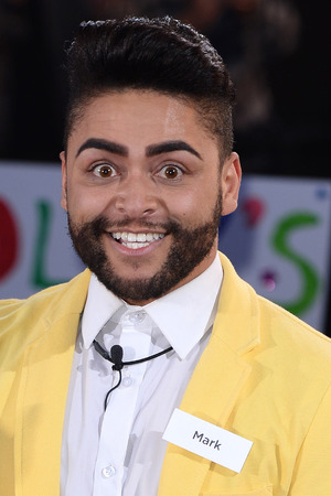 BOREHAMWOOD, ENGLAND - JUNE 05: Mark Byron enters the Big Brother house during the Big Brother : Power Trip Live Launch at Elstree Studios on June 5, 2014 in Borehamwood, England. (Photo by Karwai Tang/WireImage)