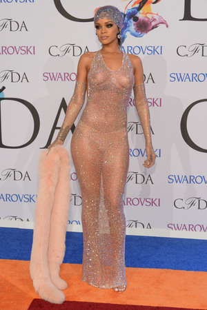 NEW YORK, NY - JUNE 02: (EDITORS NOTE: Image contains nudity.) Rihanna attends the 2014 CFDA fashion awards at Alice Tully Hall, Lincoln Center on June 2, 2014 in New York City. (Photo by Dimitrios Kambouris/Getty Images)