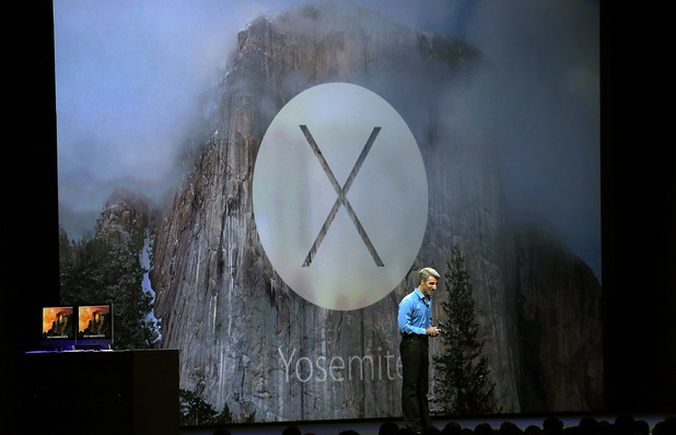 Craig Federighi speaks about the new OS X Yosemite during the Apple Worldwide Developers Conference