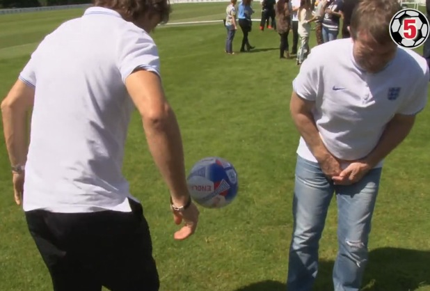 Bradley Walsh gets kicked in the crotch by John Bishop during our keepy-uppy challenge