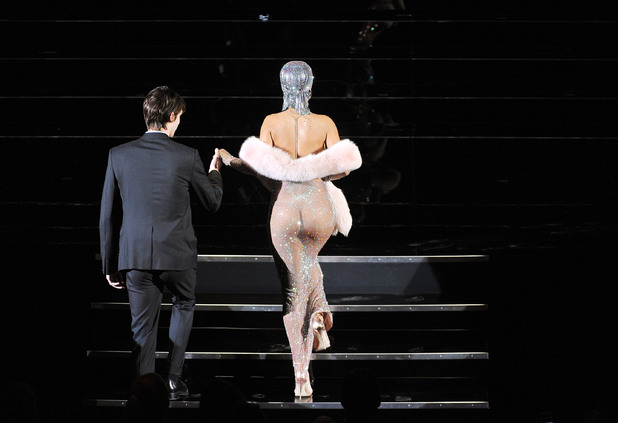 NEW YORK, NY - JUNE 02: (EDITORS NOTE: Image contains nudity.) Rihanna walks onstage at the 2014 CFDA fashion awards at Alice Tully Hall, Lincoln Center on June 2, 2014 in New York City. (Photo by D Dipasupil/Getty Images)