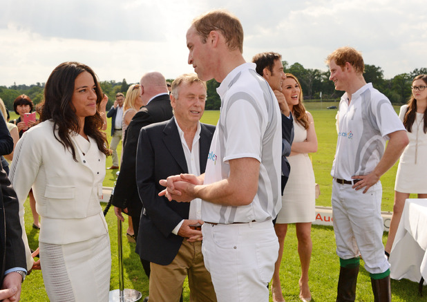 ASCOT, ENGLAND - JUNE 01: Michelle Rodriguez (L) meets Prince William, Duke of Cambridge, while Clive Owen and Tonya Meli meet Prince Harry during day two of the Audi Polo Challenge at Coworth Park Polo Club on June 1, 2014 in Ascot, England. (Photo by David M. Benett/Getty Images for Audi)