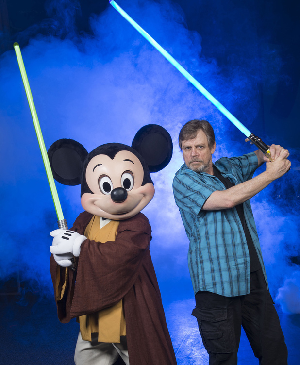 Mark Hamill poses with Jedi Mickey Mouse at Walt Disney World