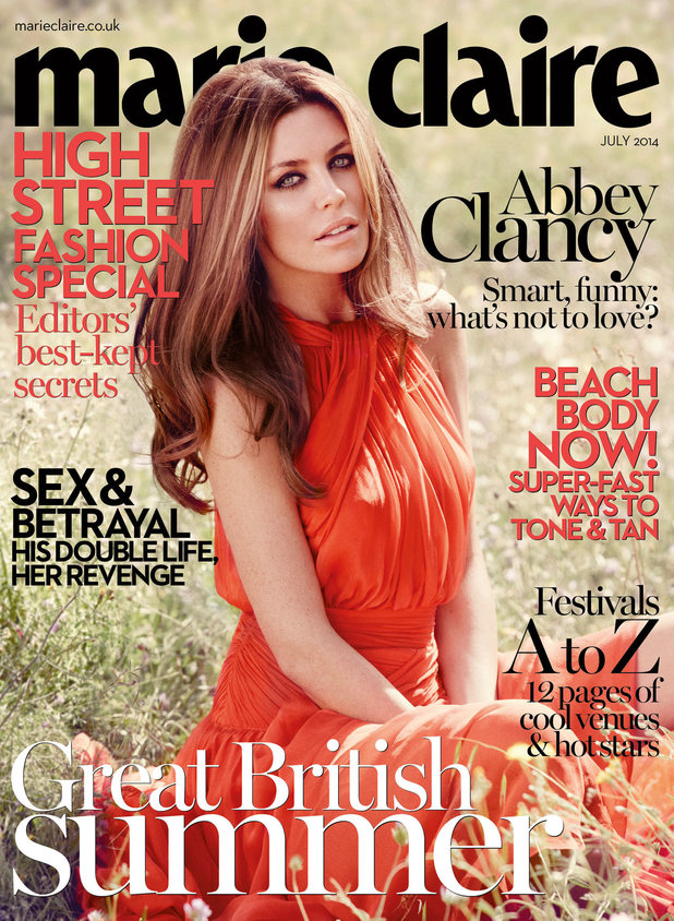 Abbey Clancy covers the July 2014 issue of Marie Claire UK