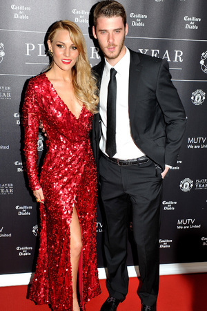 MANCHESTER, ENGLAND - MAY 08: David De Gea and Edurne Garcia attend the Manchester United Player of the Year awards at Old Trafford on May 8, 2014 in Manchester, England. (Photo by Shirlaine Forrest/Getty Images)