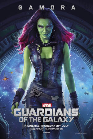 Zoe Saldana as Gamora in Guardians of the Galaxy poster