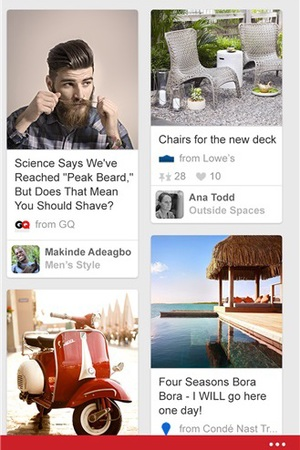 Pinterest app for Windows Phone