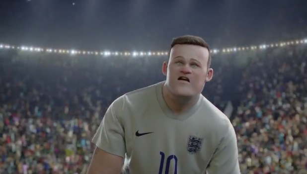 Wayne Rooney cartoon in Nike advert
