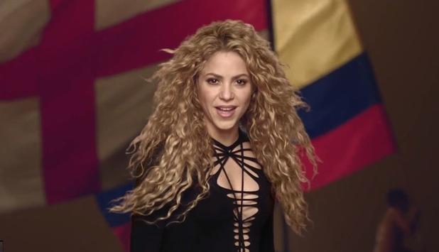 Shakira 'La La La' music video still.