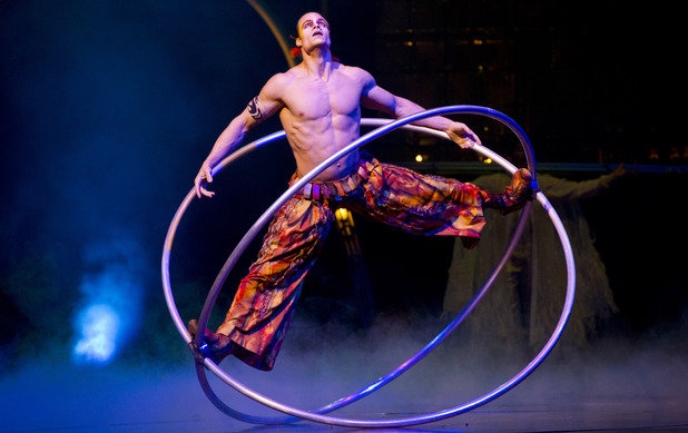 Jonathan Morin from Cirque du Soleil on stage in Dralion at London O2 Arena
