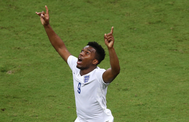Daniel Sturridge celebrates his goal during the opening Group D match of the 2014 World Cup between England and Italy at Arena Amazonia on June 14,