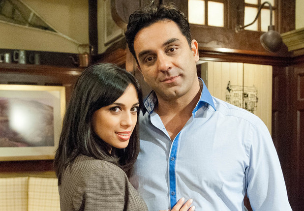 Fiona Wade as Priya & Pasha Bocarie as Rakesh Kotecha in Emmerdale