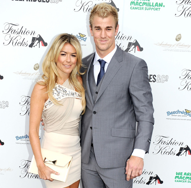 Joe Hart and girfriend Kimberley Crew attend Fashion Kicks at Lancashire County Cricket Club on May 15, 2011 in Manchester, England. (Photo by Shirlaine Forrest/WireImage)