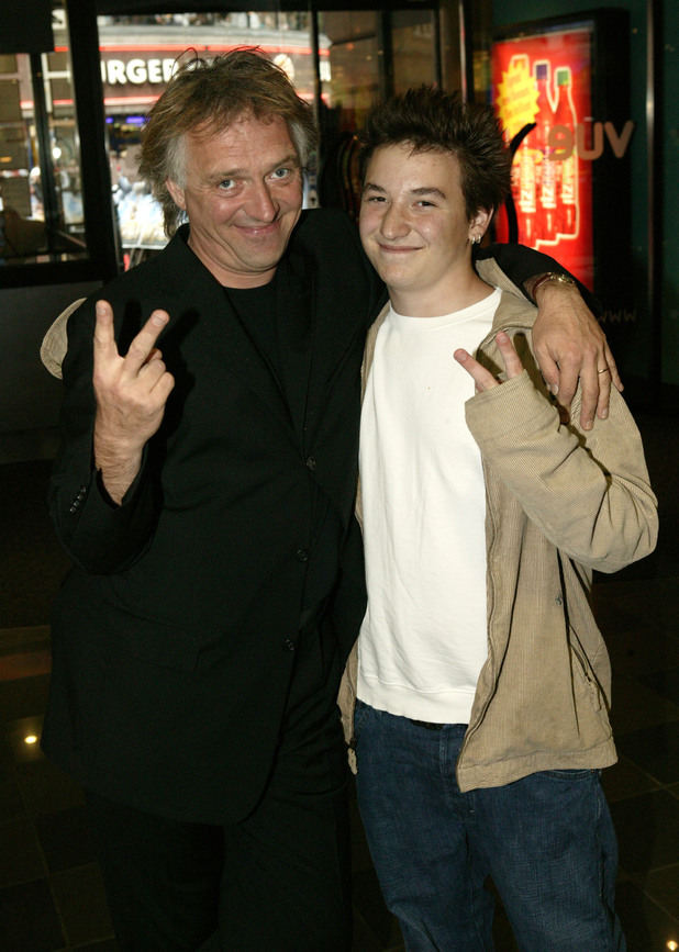 Rik Mayall with son Sidney