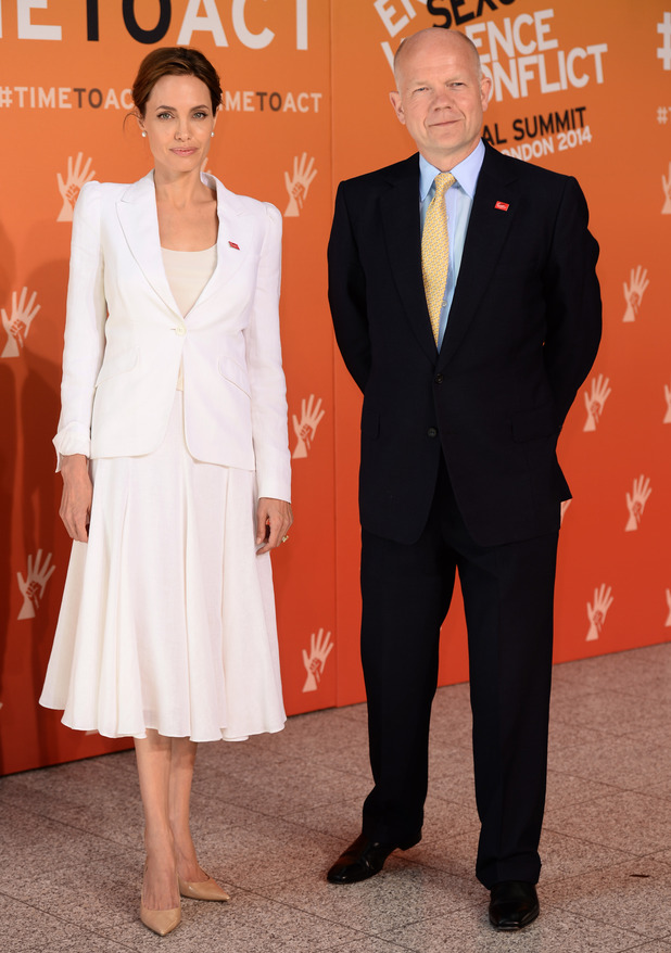 LONDON, ENGLAND - JUNE 10: Angelina Jolie and William Hague attend the Global Summit to end Sexual Violence in Conflict at ExCel on June 10, 2014 in London, England. (Photo by Karwai Tang/WireImage)
