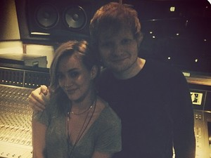 Hilary Duff and Ed Sheeran in the studio together