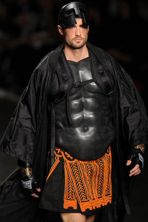 LONDON, ENGLAND - JUNE 16: A model walks the runway at the KTZ show during the London Collections: Men SS15 on June 16, 2014 in London, England. (Photo by Stuart C. Wilson/Getty Images)