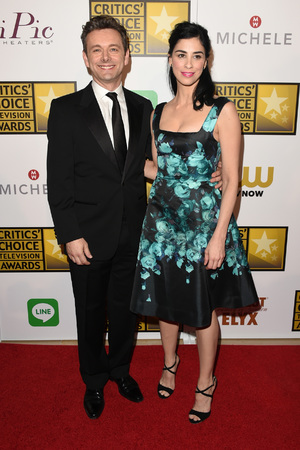 BEVERLY HILLS, CA - JUNE 19: Actors Michael Sheen (L) and Sarah Silverman pose in the press room during the 4th Annual Critics' Choice Television Awards at The Beverly Hilton Hotel on June 19, 2014 in Beverly Hills, California. (Photo by )