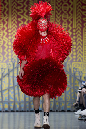 LONDON, ENGLAND - JUNE 17: A model walks the runway at the Sibling show during the London Collections: Men SS15 on June 17, 2014 in London, England. (Photo by Tristan Fewings/Getty Images)