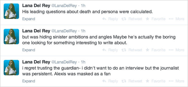Lana Del Rey tweets defending Guardian interview.