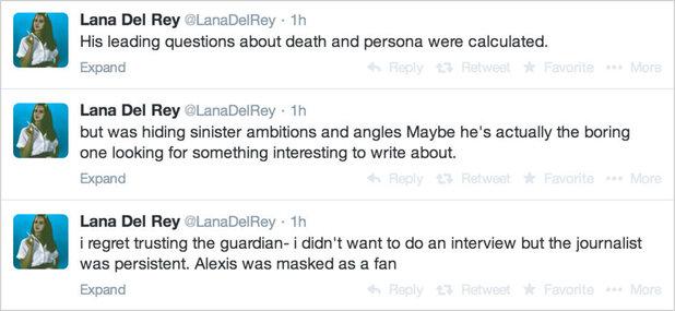 Lana Del Rey tweets defending Guardian interview.