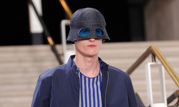 LONDON, ENGLAND - JUNE 15: A model walks the runway at the YMC show during the London Collections: Men SS15 at The British Library on June 15, 2014 in London, England. (Photo by Stuart C. Wilson/Getty Images)